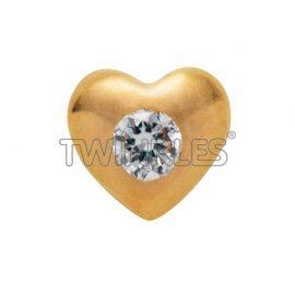 Srce z Diamantom - zlato